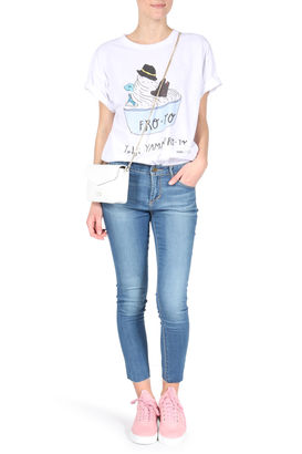 Cropped Jeans Carly Cut Edge Mittelblau