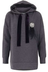 Hoodie mit Schmuckstein-Brosche Anthrazit - IVI COLLECTION