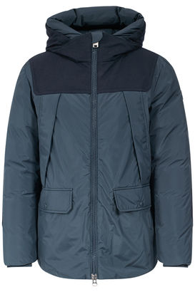 Daunenjacke mit Woll-Patches Melton Blue