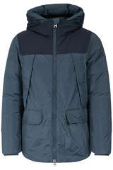 Daunenjacke mit Woll-Patches Melton Blue - WOOLRICH