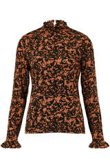 Langarmshirt aus Viskose mit Rüschendetail  - BLOOM