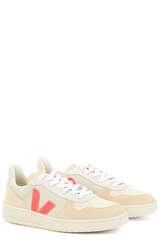 Sneakers V-10 Suede Multico Natural Rose-Fluo - VEJA