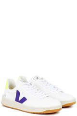 Sneakers V-12 B-Mesh White Purple Jaune-Fluo - VEJA