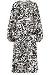 Midi-Kleid Rosen mit Zebra-Print - STINE GOYA