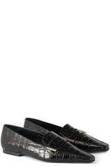 Leder-Loafer Croco Black - FLATTERED