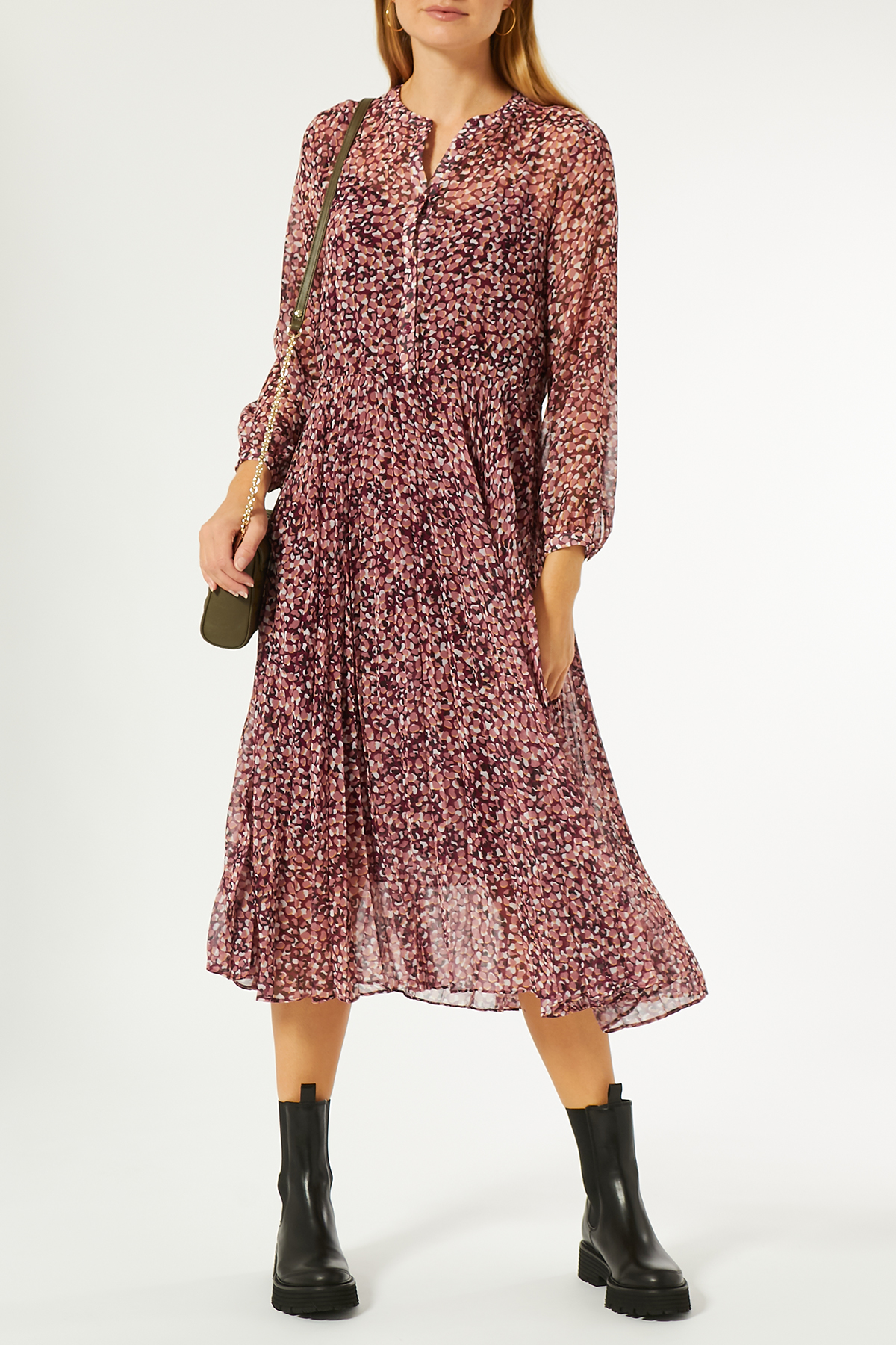 Midi-Kleid aus Chiffon   FLOWERS FOR FRIENDS   myCLASSICO.com