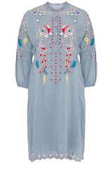Tunika-Kleid mit Stickerei aus Rayon   - JOHNNY WAS