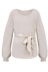 Sweatshirt mit Satin-Bindegürtel - JUVIA