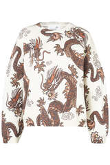 Oversize-Pullover mit Drachen-Print - JUVIA