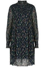 Kleid mit Smok-Details aus Viskose-Chiffon - FLOWERS FOR FRIENDS