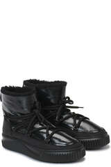 Lackleder Boots Cortina mit Lammfell - VOILE BLANCHE